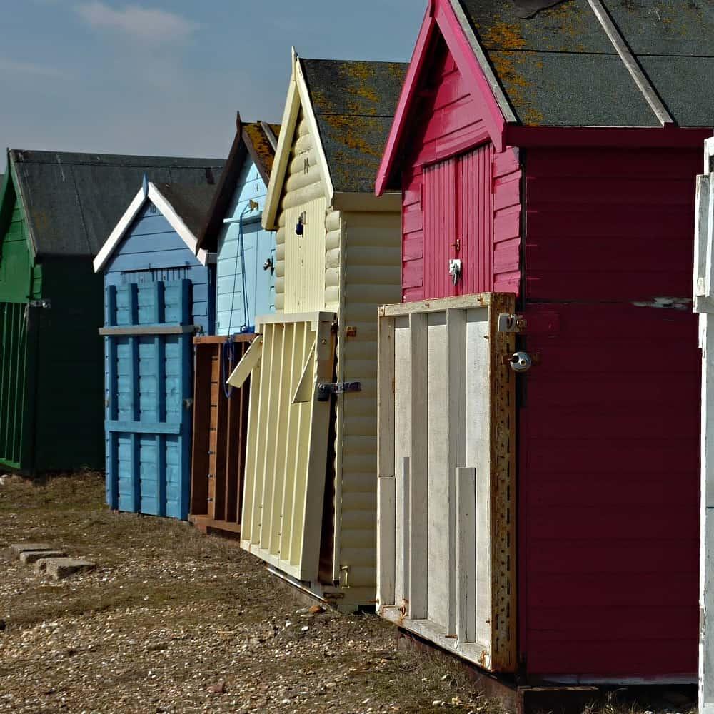 Photo: coloured beach huts