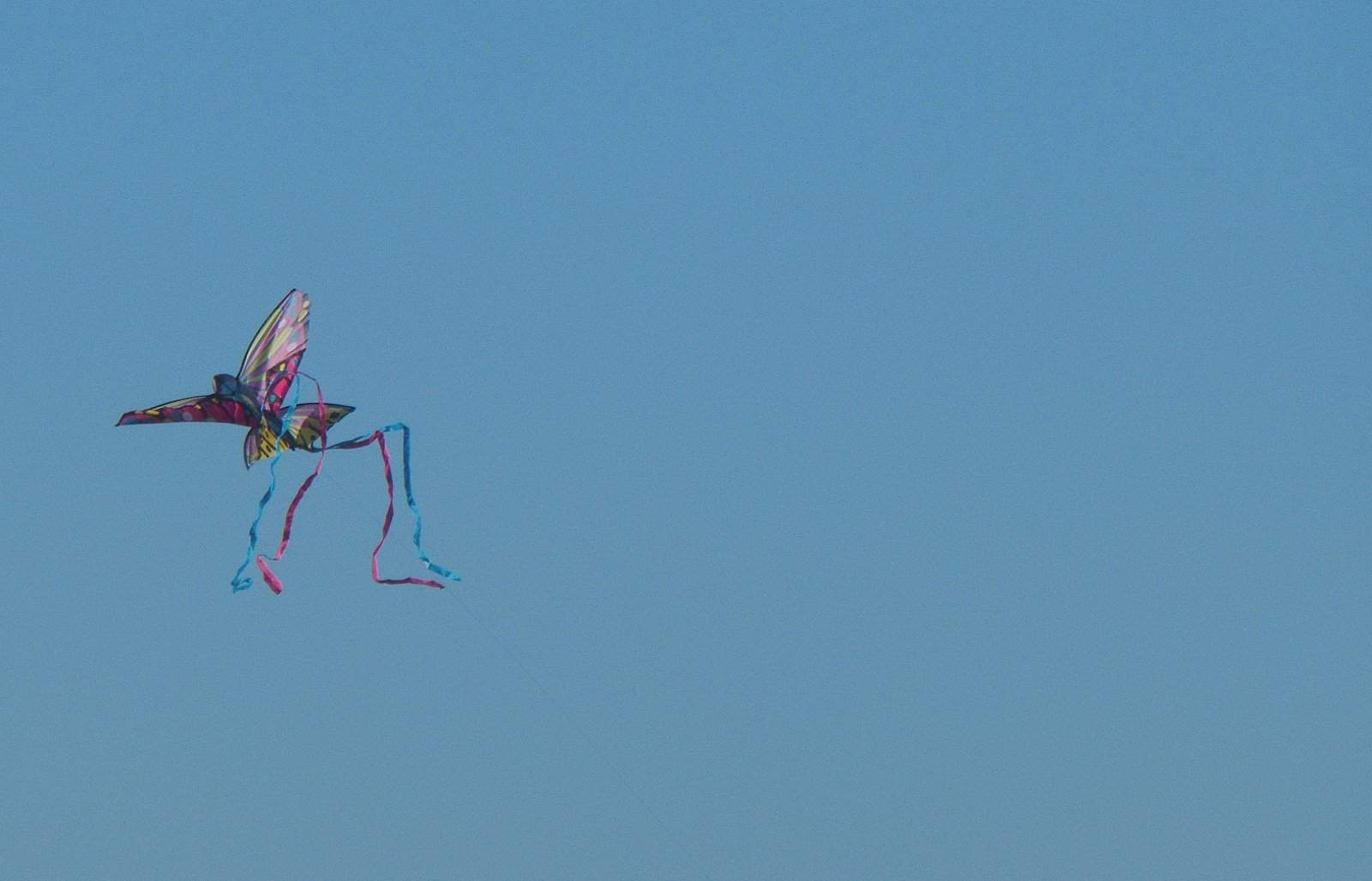 A kite flying against an unbroken blue sky