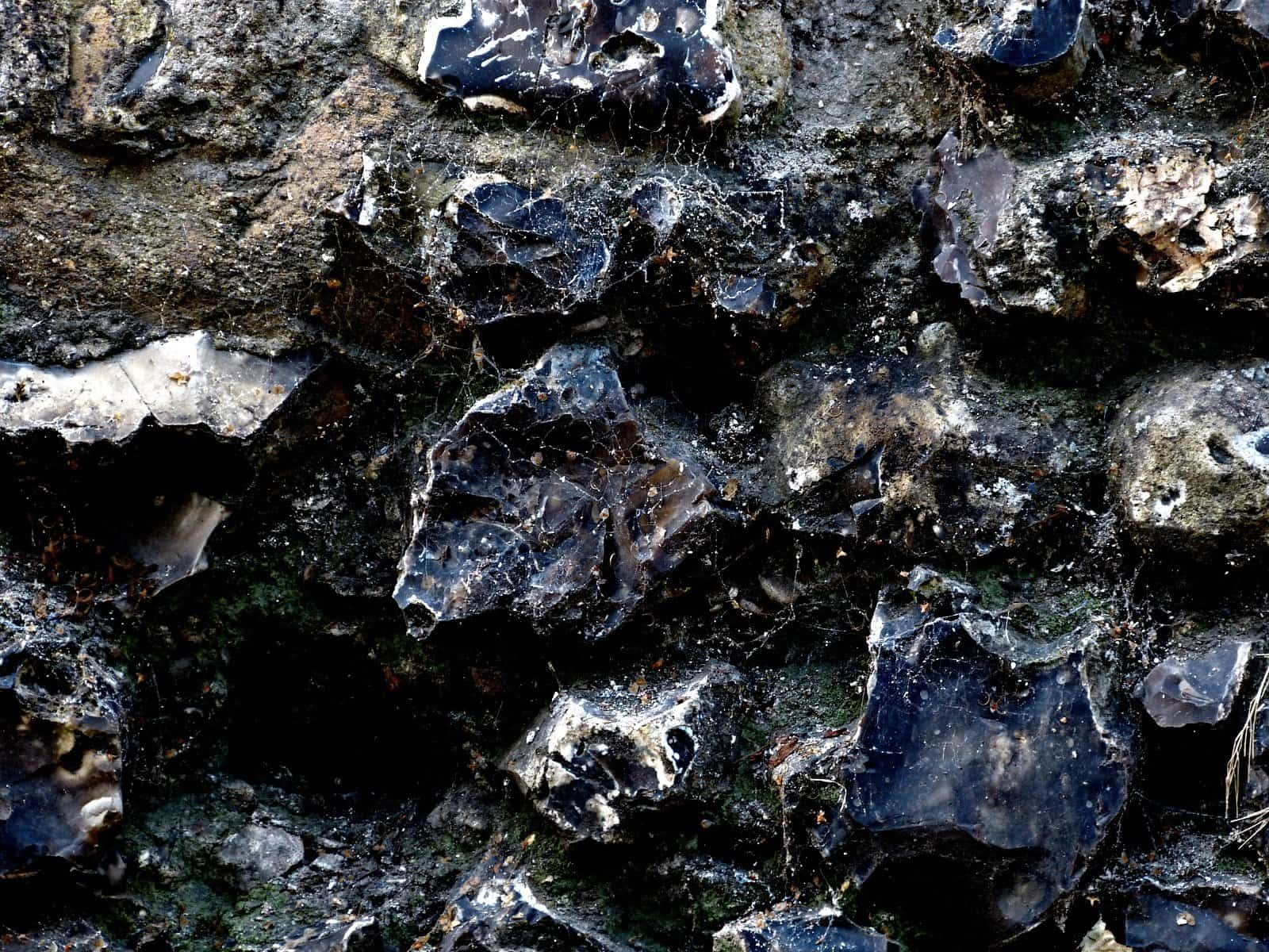 Flints in a wall - close-up image