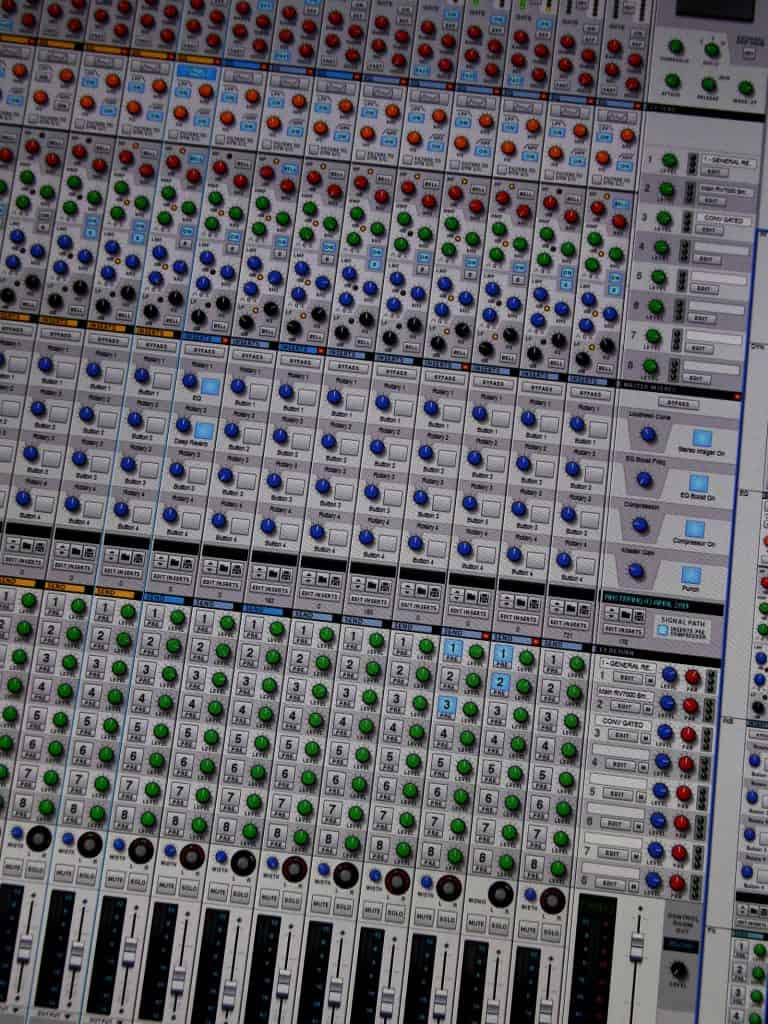 A photo of a software mixing desk