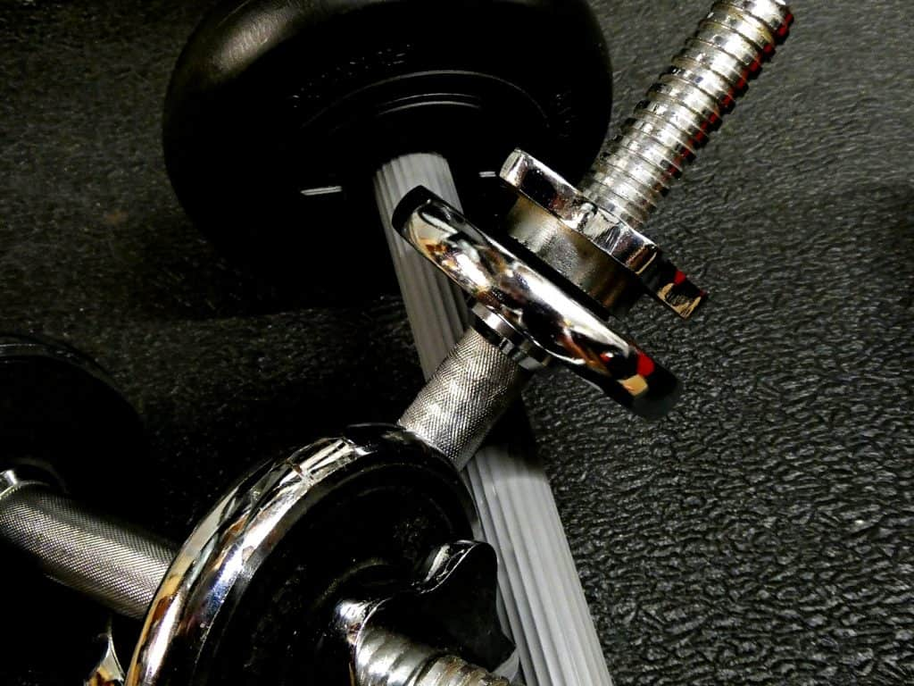 Close-up photo of exercise weights
